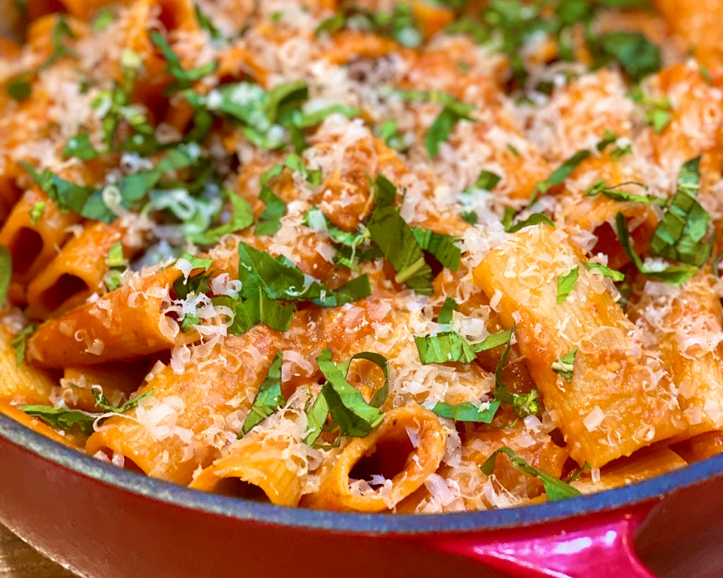 rigatoni with vodka sauce and Churn tomato and basil butter