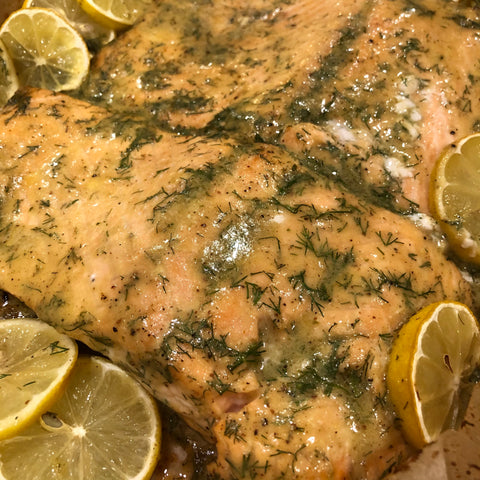 salmon with churn garlic and shallot butter with honey mustard and dill