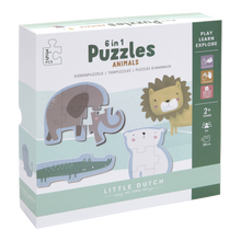 Laden Sie das Bild in den Galerie-Viewer, Little Dutch 6-in-1 Puzzles - Zootiere