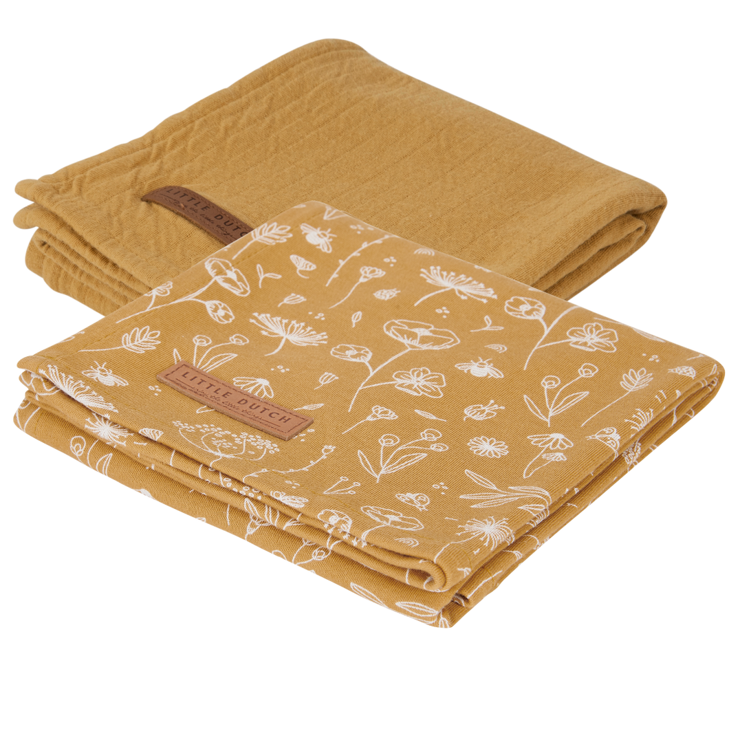 Swaddle Tuch 70x70cm Set aus 2 Wild Flowers Ochre Kollektion