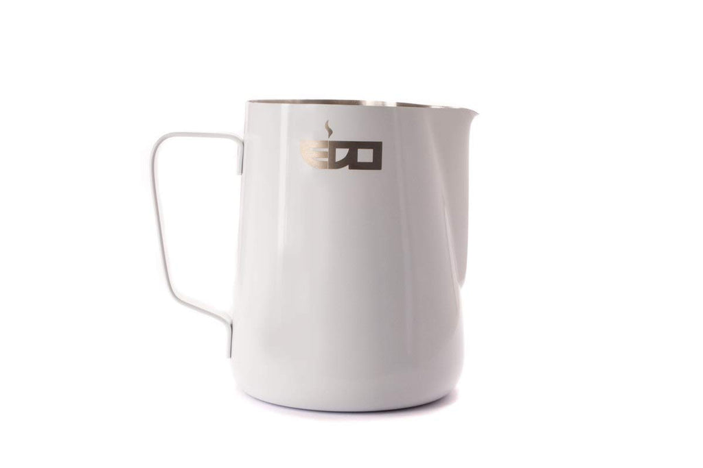 """EDO BARISTA"" WHITE STAINLESS STEEL MILK PITCHER - 600 ml/20 oz"