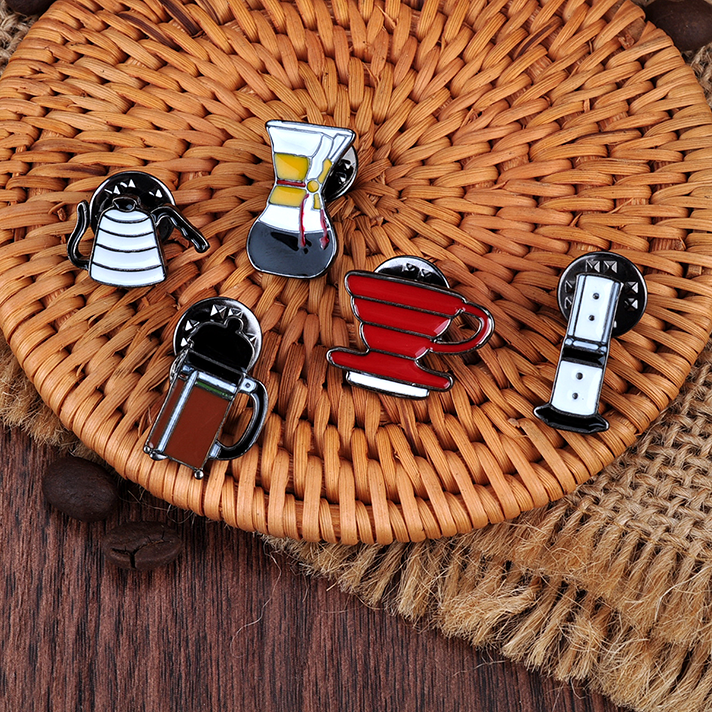Coffee Barista Pins Accessories 5 Pieces Set