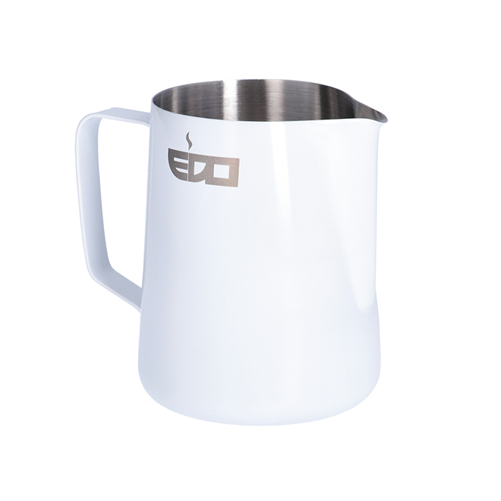 Edo Barista White Stainless Steel Milk Pitcher - 350 ml/12 oz