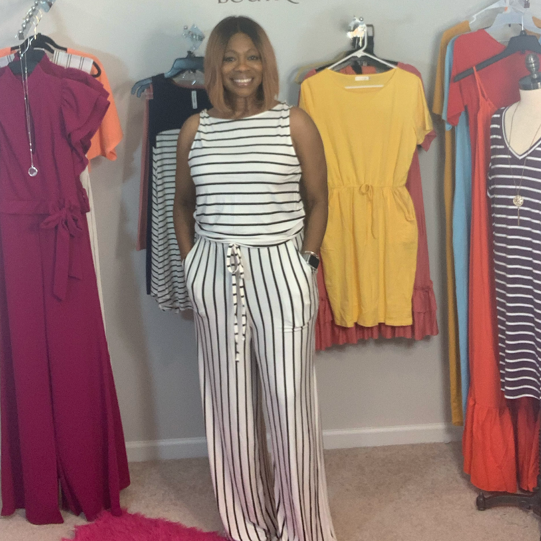White and Black Sleeveless Stripe Jumpsuit