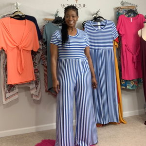 Stripe Blue and White Stripe Jumpsuit