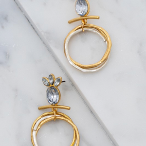 Crystal Studs w/ gold and silver circle accents