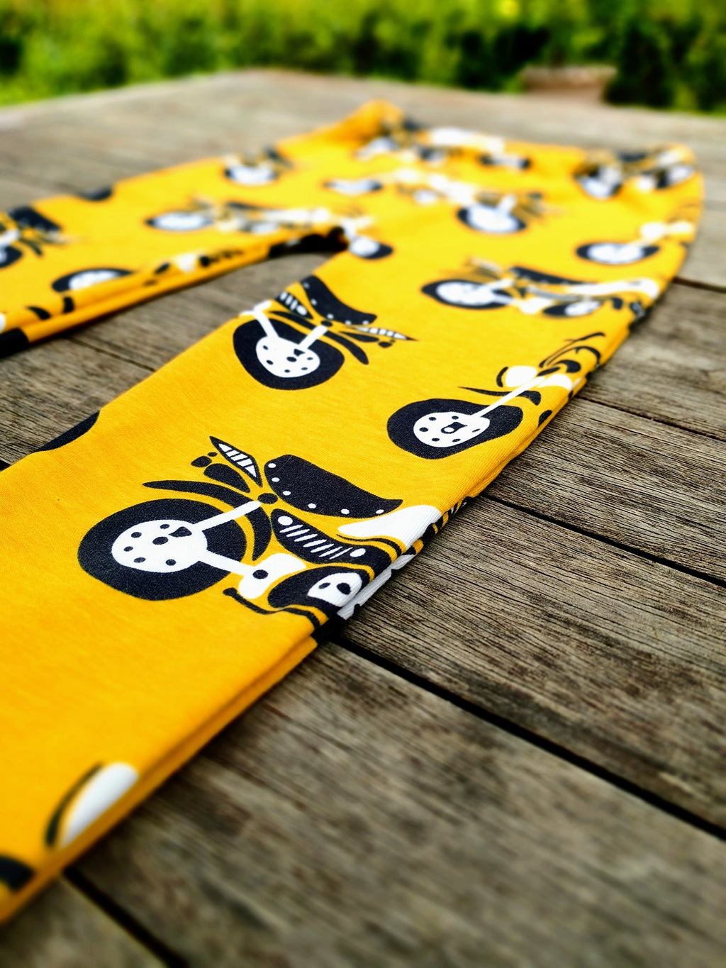 Australian Handmade Organic Cotton Leggings (Yellow Motorbikes)