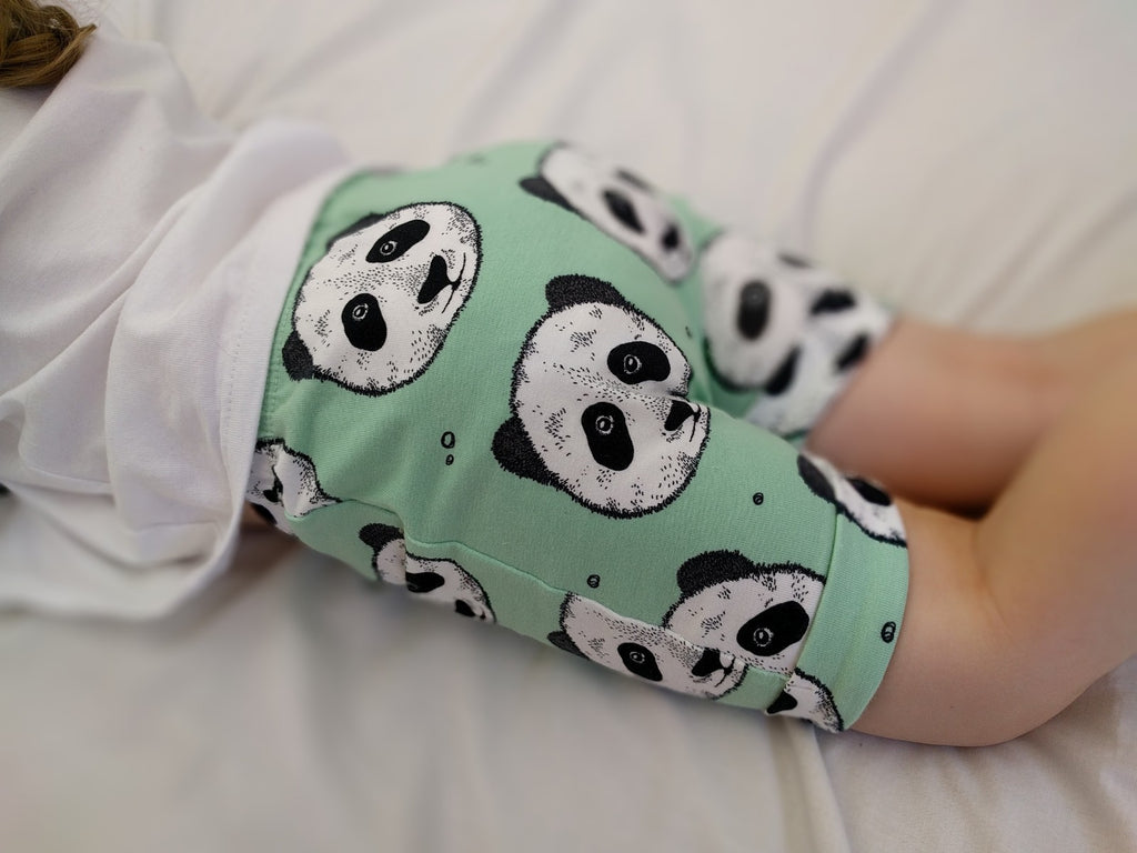 Handmade Organic Cotton Mint Panda Shorts