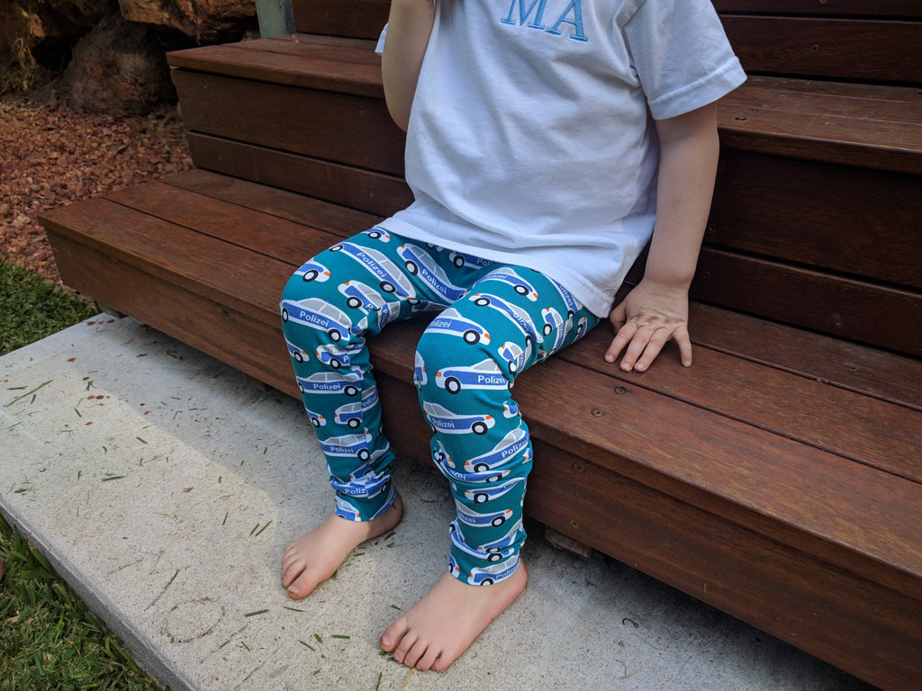 Australian Handmade Leggings (Teal Police Car)