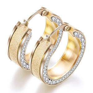 Round White Crystal Hoop Huggies Earrings