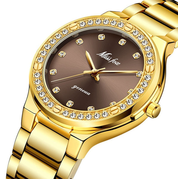 MISSFOX Luxury Diamond 18K Gold Wristwatch