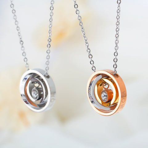 Tri-Circle Pendant Necklace