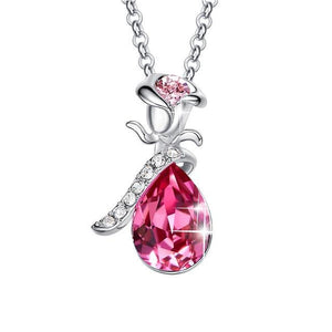 Rose Flower Crystal Pendant Necklace