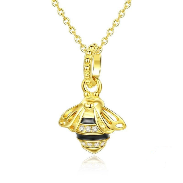 Gold Flying Honey Bee Charm Necklace