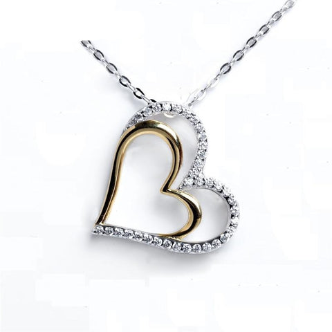 Genuine Silver Two Tone Love Heart Pendant
