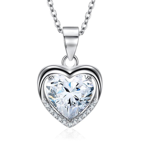 CZ Cystal Delicate Love Heart Chain Necklace