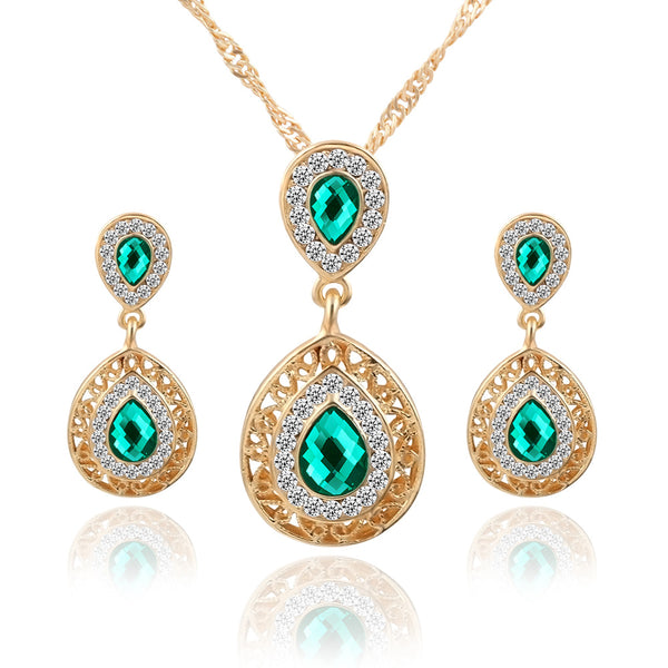 European and American  new ear nail Necklace suit combination Crystal Earrings Water Drop Pendant Jewelry three sets wholesale