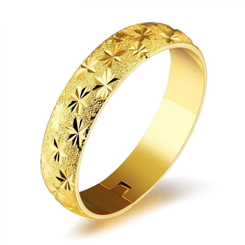 XQNI Luxury Gold Color Stainless Steel Full Stars Pattern Open Bangle For Women Frosted Surface Elegant Bride Jewelry