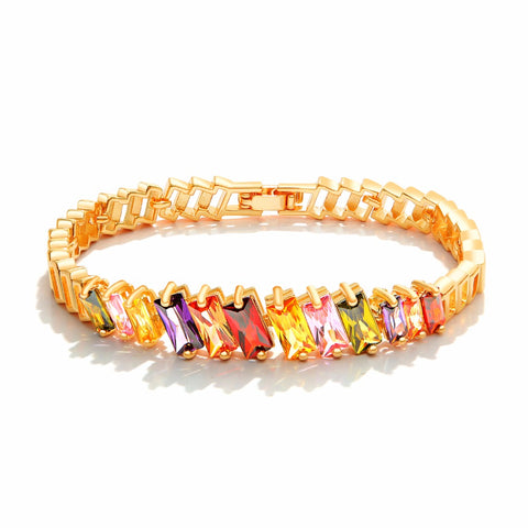 FATE LOVE Beautiful Cute Wedding Bridal Bracelets & Bangles for Women Ladies inlay Colorful stone Gold color Fashion Jewelry