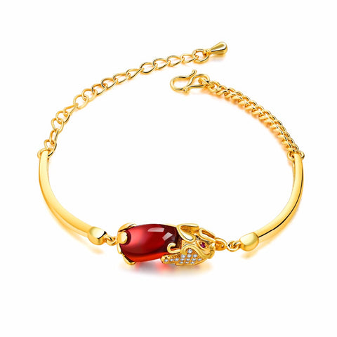 FATE LOVE Brand Cute Wedding Bridal Charm Bracelets & Bangles for Women Ladies Red stone Gold color Fashion Jewelry