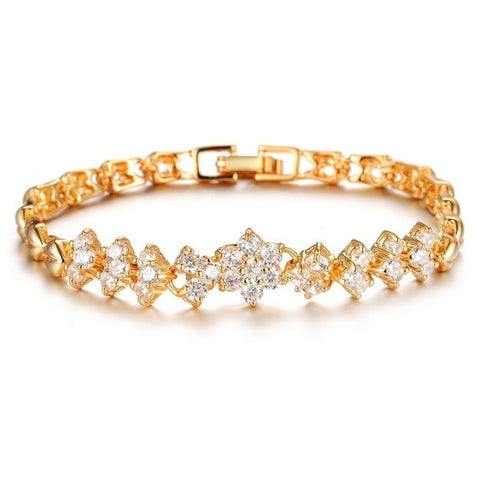 XQNI New Fashion Gold Color Bracelets For Women Luxury White Stones Zircon Wedding Jewelry Bangle Wholesale Accessories