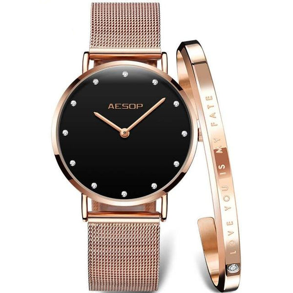 AESOP Luxury Brand Rose Gold Watch