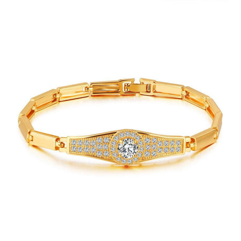XQNI AAA Inlaid Cubic Zircon Stainless Steel Gold Color Round Design Bracelet For Women Birthday Party Present Free Shipping