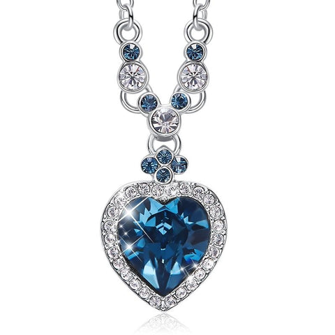 Blue Heart Rhinestone Necklace