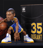 Kevin Durant collectible figurine in a Golden State Warriors blue jersey.