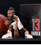 James Harden collectible figurine in a Houston Rockets white jersey.