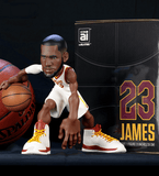 LeBron James collective figurine in a Cleveland Cavaliers white jersey.