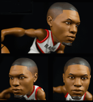 Closeup head details of Damian Lillard collectible figurine.