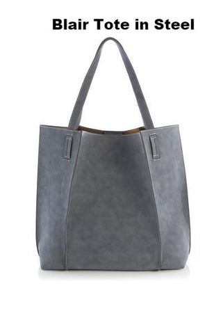 Blair Tote in Steel. Great faux leather tote perfect for travel