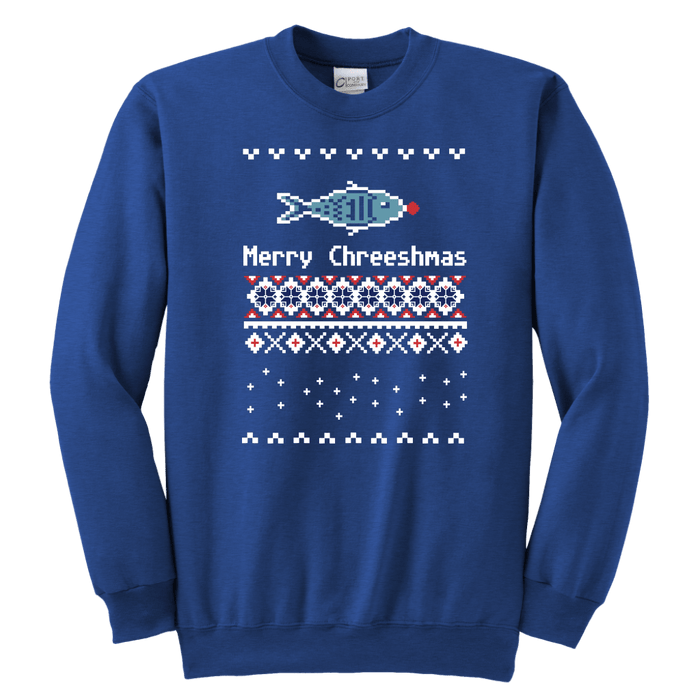 "Youth Size Ugly Christmas Sweatshirt - ""Merry Chreeshmas"""