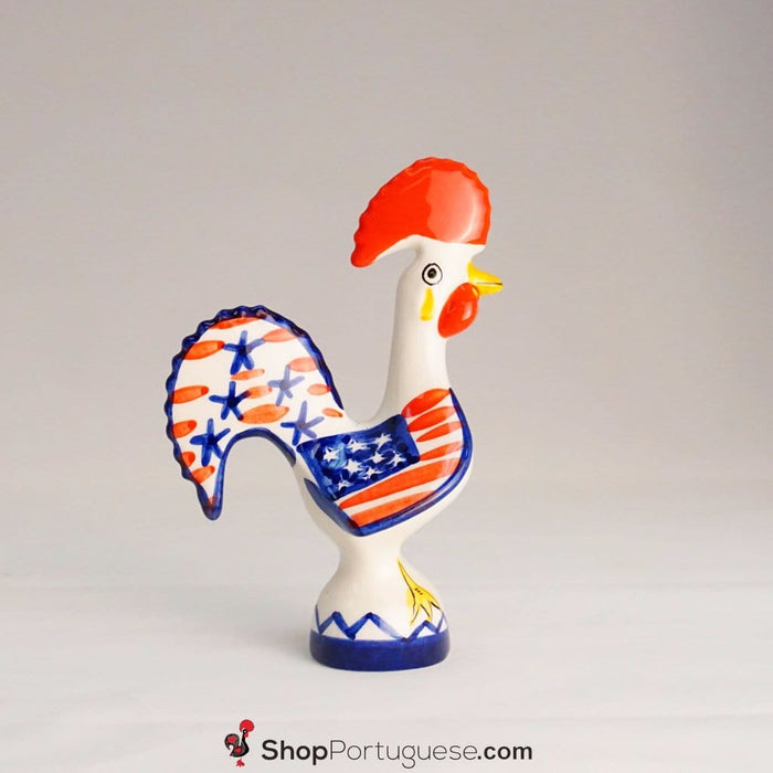 "Barcelos Rooster American Theme Figurine (Ceramic, 6"" or 8"")"