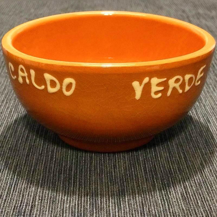 Traditional Portuguese Clay Pottery Caldo Verde Bowl with Saucer