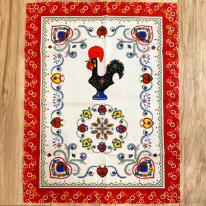 Barcelos Rooster Kitchen Towels (White w/ Colored Border)