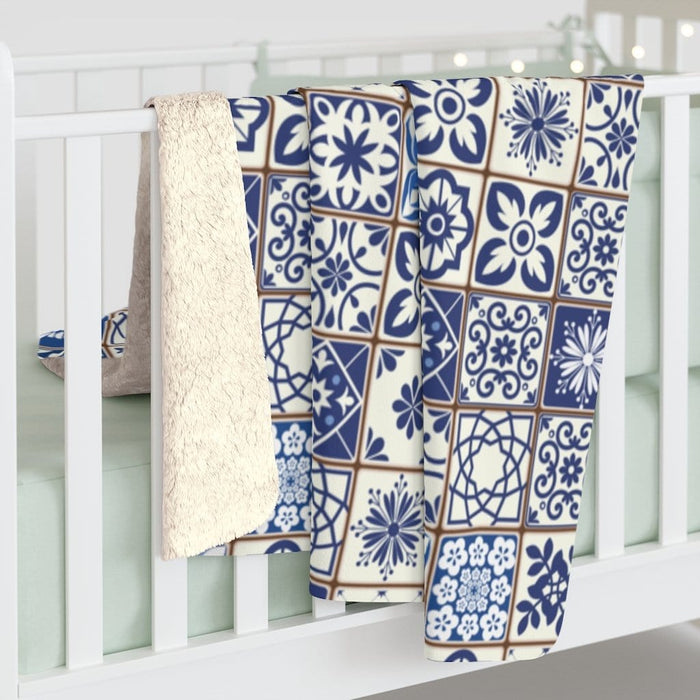 Portuguese Tiles Sherpa Fleece Blanket