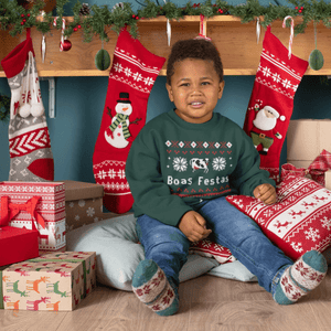 "Youth Size Ugly Christmas Sweatshirt - ""Boas Festas"""
