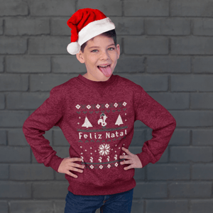 "Youth Size Ugly Christmas Sweatshirt - ""Feliz Natal"""