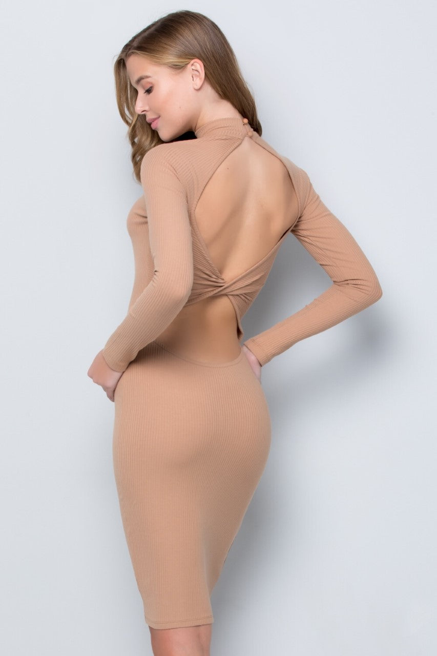 Open Twist Back Dress (Latte)
