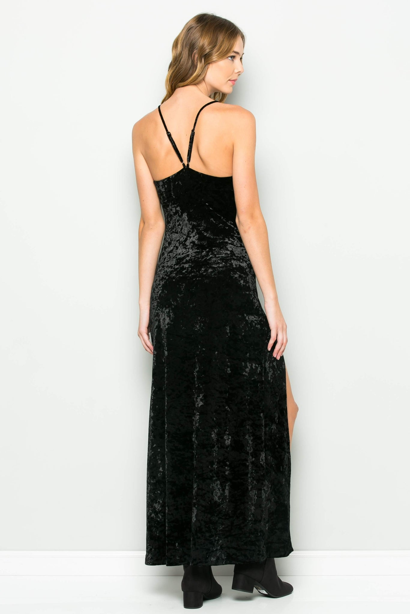 Crushed Velvet High Slit Strap Dress (Black)