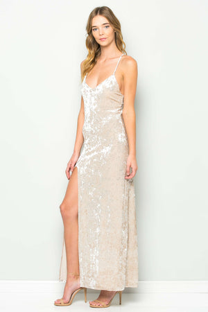 Crushed Velvet High Slit Strap Dress (Champagne)