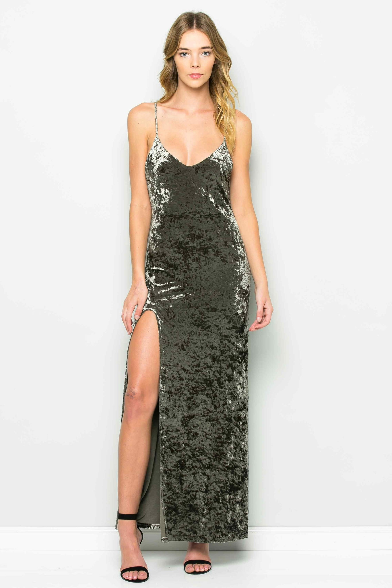 Crushed Velvet High Slit Strap Dress (Olive)