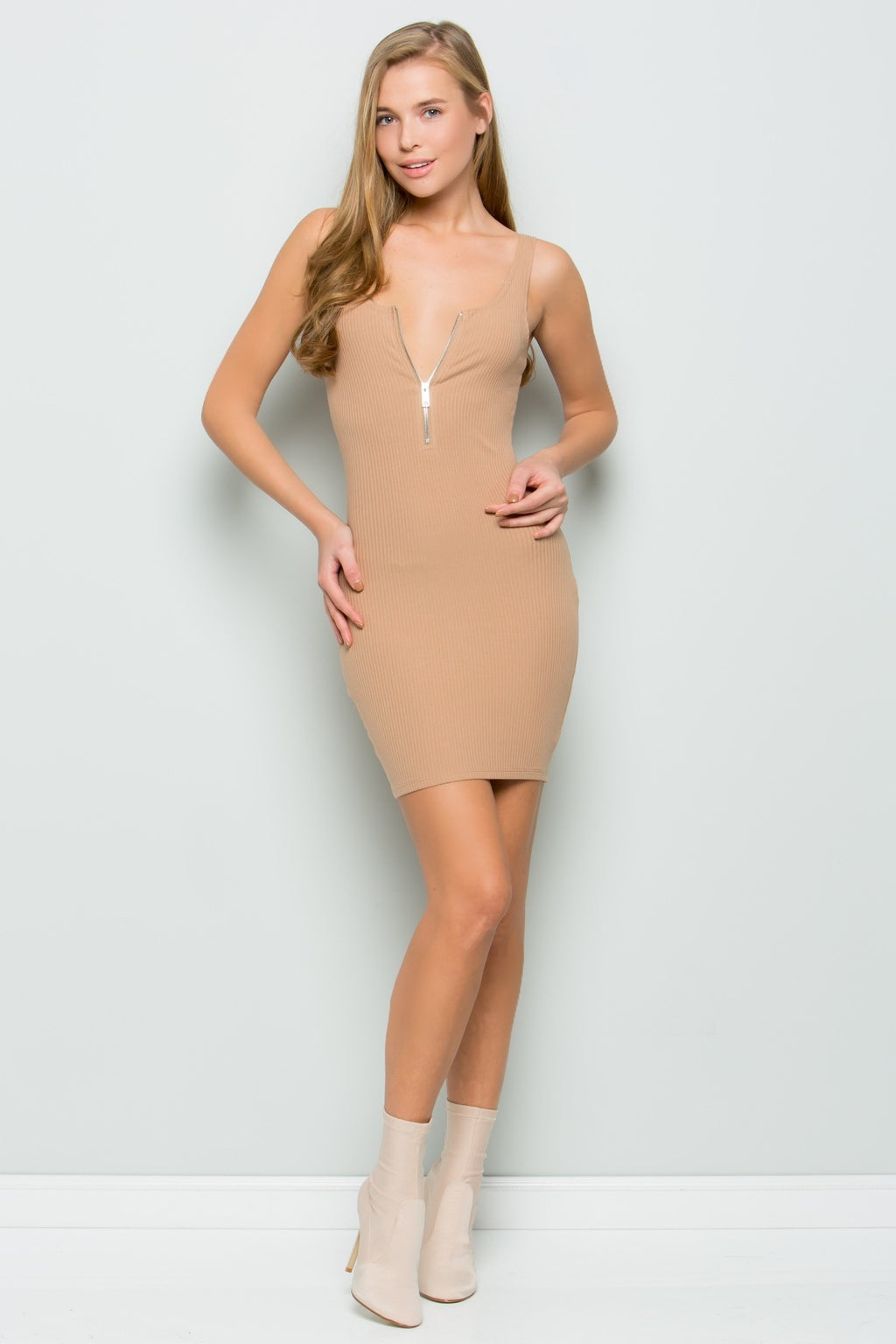 Zip-up Rib Dress (Latte)