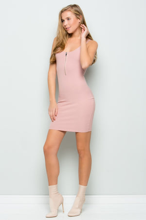Zip-up Rib Dress (Rose)