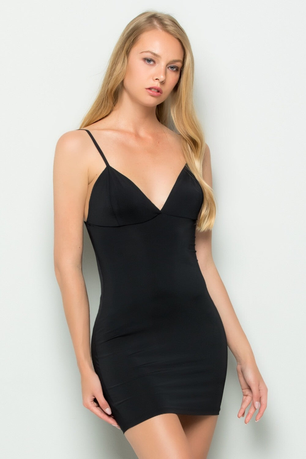 Sleeveless Bodycon Ponte Dress (Black)