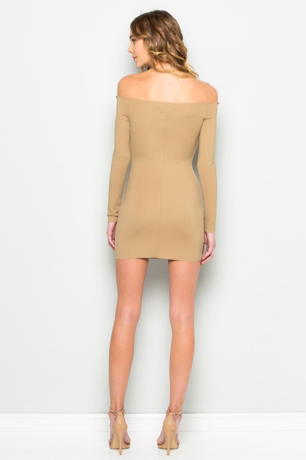 Raw Edge Open Shoulder Bodycon Dress (Camel)