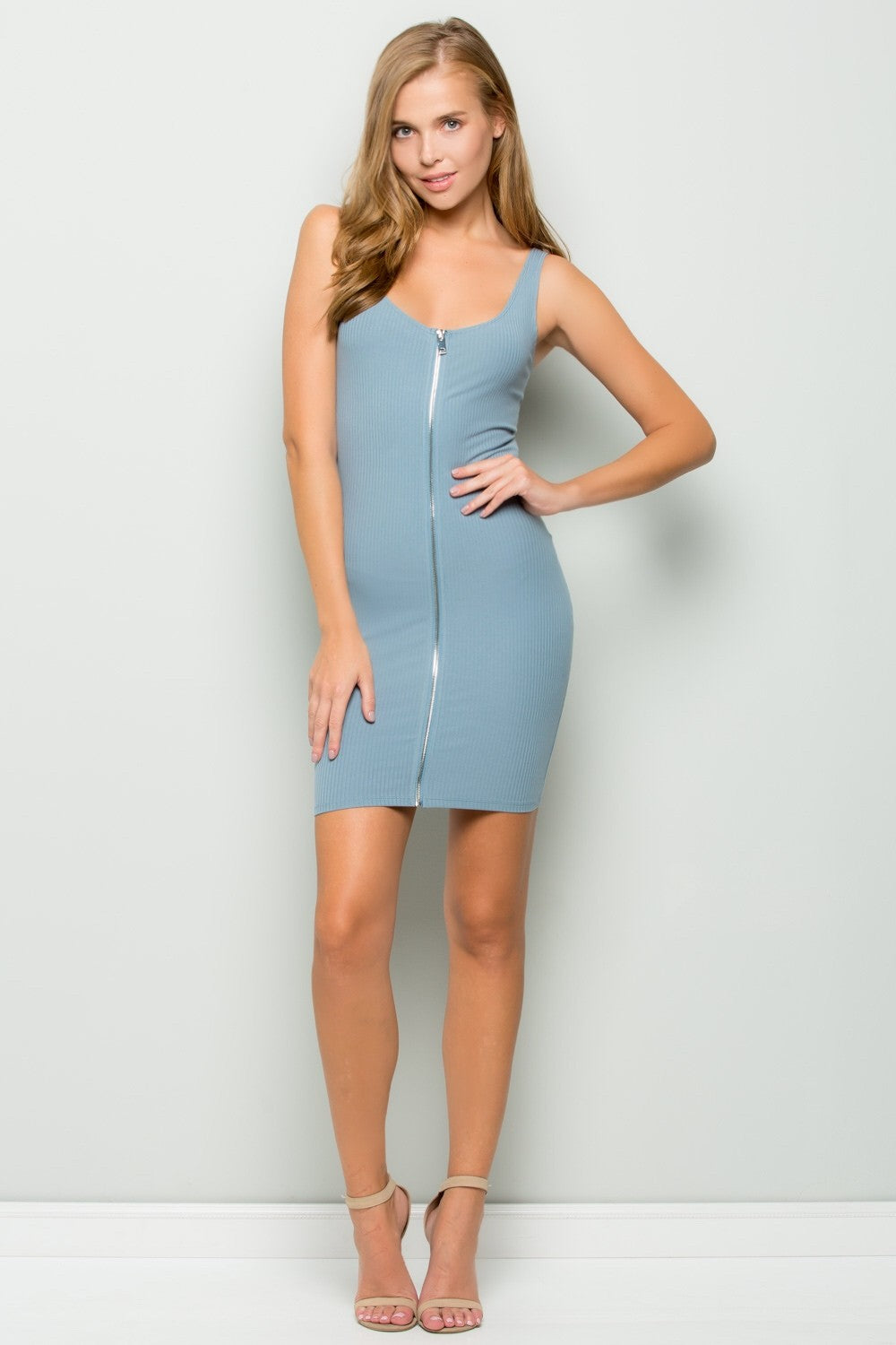 Full-zip Tank Dress (Dusty Blue)