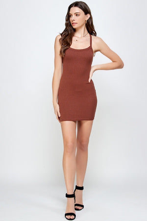 Cross Back Rib Dress (Cocoa)